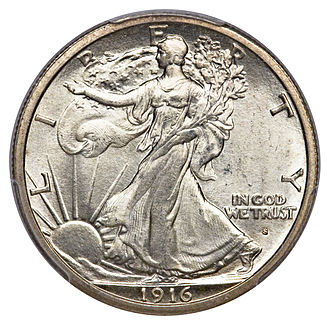 Walking Liberty half dollar - A 1916-S half dollar with the mint mark on the obverse.
