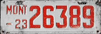 Vehicle registration plates of Montana - Image: 1923 Montana license plate