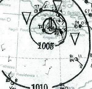 1935 Jérémie hurricane - Map of the storm on October 22, while centered between Jamaica and Cuba