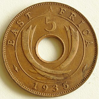 East African shilling - Image: 1935 East African 5 cent coin reverse