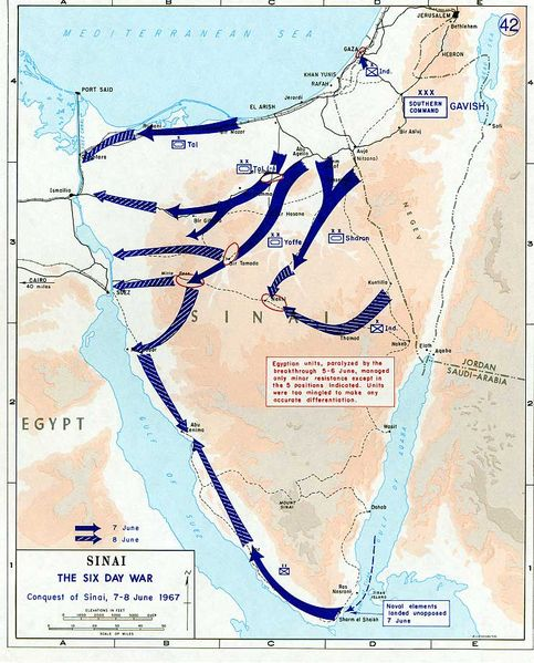 ファイル:1967 Six Day War - conquest of Sinai 7-8 June.jpg