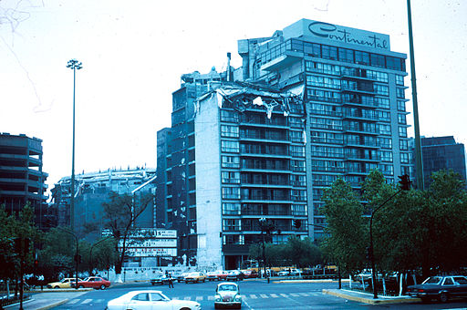 Damage is often concentrated on the upper storeys of taller buildings because the motion is greater there. The upper floors of several tall buildings like this hotel collapsed. (Continental Hotel, Mexico City, 1985)