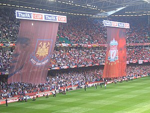 2006 FA Cup Final - Banners of the two teams were hung from inflatable balloons before the match.