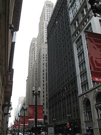 Roanoke Building - Roanoke Building (dark) in front of One North LaSalle (light grey) on right from South on LaSalle Street