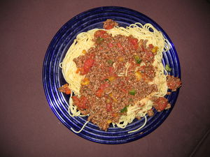 2007 12 11 - Laurel - Meat sauce on spaghetti.JPG
