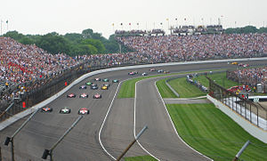 2007 Indianapolis 500 - The field in formation entering Turn 4 en route to the green flag.