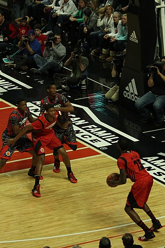 Screen (sports) - Isaiah Hicks screens Jarell Martin and Marcus Lee for Chris Walker at the 2013 McDonald's All-American Boys Game.