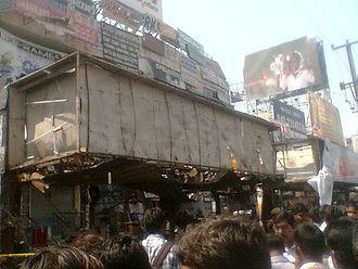 2013 Hyderabad blasts - Destroyed bus shelter due to the first blast