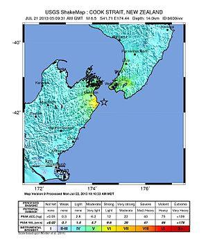 2013 Seddon earthquake - USGS Shakemap