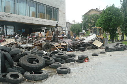 Vostok Battalion members dismantling the barricade at Donetsk RSA on 3 June 2014-06-03. Protesty v Donetske 015.JPG