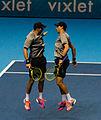 2014-11-12 2014 ATP World Tour Finals Bob an Mike Bryan celebrating victory 2 by Michael Frey.jpg