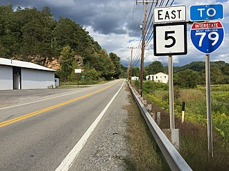West Virginia Route 5 - View east along WV 5 at CR 35/16 in Gilmer County