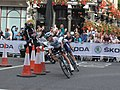 2018 Tour of Britain stage 8 174 Vasil Kirienka and 081 Emils Liepins.JPG