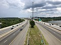 2019-07-04 15 06 33 View north along Interstate 95 and Interstate 495 (Capital Beltway) from the pedestrian overpass for the Woodrow Wilson Bridge Trail in National Harbor, Prince George's County, Maryland.jpg