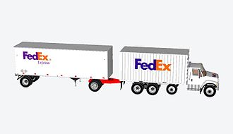 Box truck - 20 foot container straight truck with 28.5' foot pup trailer