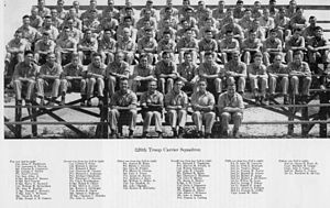 320th Troop Carrier Squadron - Group photo of squadron members, North Field, Tinian, 1945