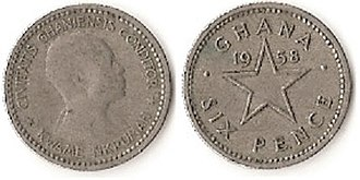 Ghanaian pound - Image: 6 pence (Ghanaian pound)