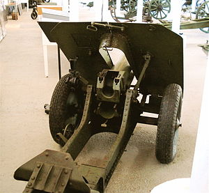 76 mm mountain gun M1938 - M1938, rear view.
