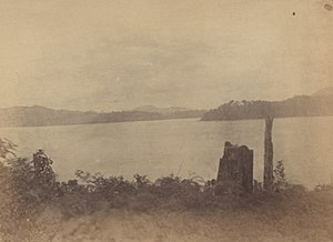 Dinding River - View of the mouth of Dinding river from the hill at Pulau Pangkor. Straits Settlements June 1874.