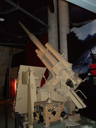 Fire-control system - A German anti-aircraft 88 mm gun with its fire-control computer from World War II. Displayed in the Canadian War Museum.