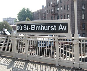 90th Street–Elmhurst Avenue (IRT Flushing Line) - Northbound platform signage