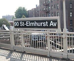 90th Street–Elmhurst Avenue (IRT Flushing Line) - Northbound platform signage