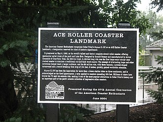 American Coaster Enthusiasts - An ACE Roller Coaster Landmark Award plaque for Magnum XL-200, the world's first hypercoaster