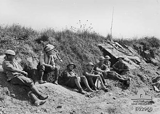 9th Brigade (Australia) - Troops from the 34th Battalion—part of the 9th Brigade—at Picardie, 21 August 1918