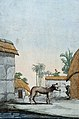 A Bengali dog standing in front of thatched huts with a man Wellcome V0022885.jpg