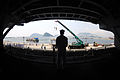 A U.S. Sailor aboard USS Ronald Reagan (CVN 76) watches members of a South Korean navy band play as the ship arrives in Busan, South Korea, July 14, 2008 080714-N-HX866-002.jpg