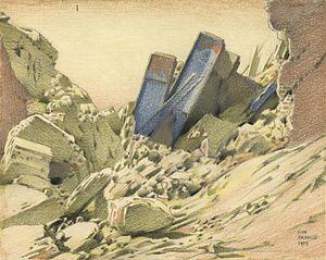 Keith Henderson (artist) - A Wrecked Railway Bridge near the Hindenburg Line near Villers Guislain (1917) (Art IWM Art 246)