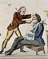 A barber shaving a man. Coloured engraving. Wellcome V0019647ER.jpg