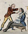 A barber shaving a man. Coloured engraving. Wellcome V0019647ER.jpg