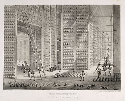Storage of opium at a British East India Company warehouse, c. 1850 A busy stacking room in the opium factory at Patna, India. L Wellcome V0019154.jpg