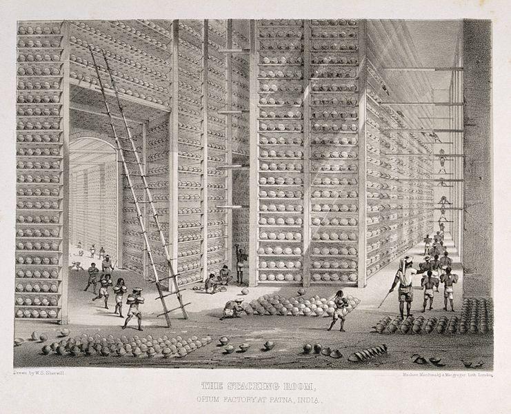 Almacén de opio, de la Compañía de las Indias Orientales, hacia 1850.