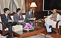 A delegation led by the Ambassador of Japan to India, Mr. Takeshi Yagi calling on the Union Home Minister, Shri Rajnath Singh, in New Delhi on March 02, 2015.jpg