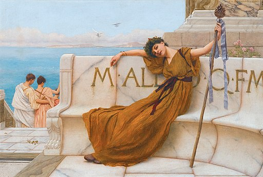 A priestess of Bacchus, John William Godward, 1890, Wikimedia Commons