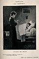 A sick child in bed has his castor oil medicine poured for h Wellcome V0015144.jpg