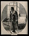 A soldier on crutches with an amputated leg, military hospit Wellcome V0016811.jpg