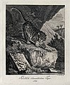 A tiger about to leap off a rock in an exotic landscape. Etc Wellcome V0021052EL.jpg