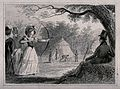 A woman is aiming at a target with a bow and arrow as a man Wellcome V0040496.jpg
