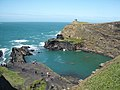 Abereiddy, the Blue Lagoon, with 'Coasteers' diving - geograph.org.uk - 1406824.jpg