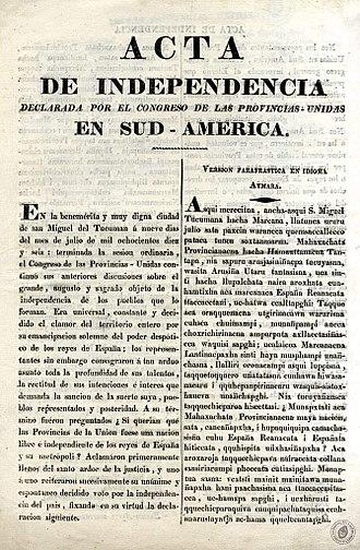 Argentine Declaration of Independence - Image: Acta de Independencia de las Provincias Unidas en Sud América Español Aymara