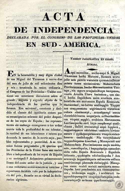 Declaration of Independence of the United Provinces of South America (present-day Argentina) in Spanish and Aymara Acta de Independencia de las Provincias Unidas en Sud America - Espanol - Aymara.jpg