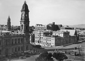 Adelaide Town Hall - G.P.O. with Albert Tower in the background 1950