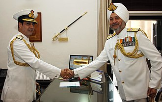 Surinder Pal Singh Cheema - Image: Admiral RK Dhowan being congratulated by SPS Cheema after taking over as new Chief of Naval Staff
