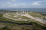 Aerial View of Ares I-X at Launch Pad 39B.jpg