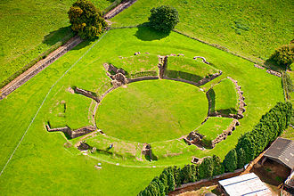 Caerleon - An aerial view of Caerleon's Roman amphitheatre site in 2005