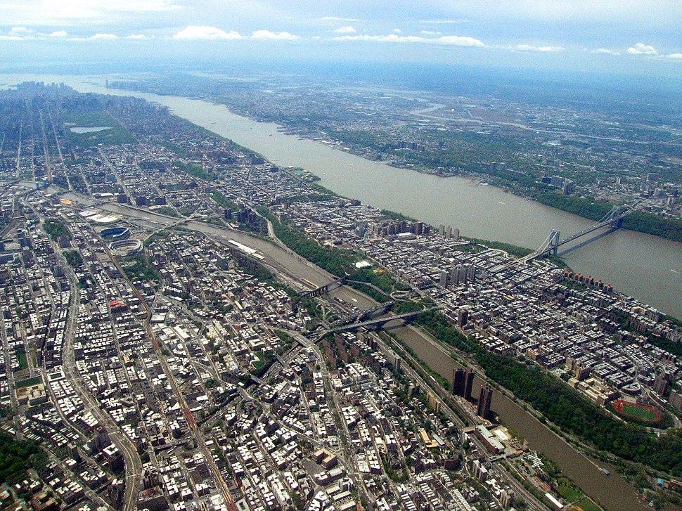 Aerial view of the Bronx, Harlem River, Harlem, Hudson River, George Washington Bridge, 2008-05-10