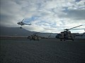 Afghan Air Force Mi-17 helicopters prepare to depart from the helicopter landing zone at Forward Operating Base Thunder in Paktia province, Afghanistan, Nov. 18, 2013, as part of a routine training flight 131118-A-CX194-003.jpg